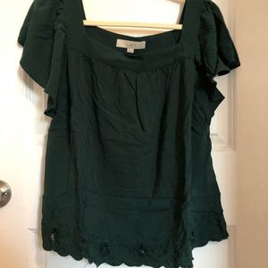 LOFT EUC Square Neck Blouse Forest Green Eyelet